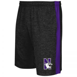 Northwestern University Wildcats Men's Colosseum Black / Purple Festivus Short with N-Cat Design