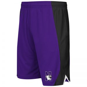 Northwestern University Wildcats Men's Colosseum Purple/Black Flagged Short with N-Cat Design