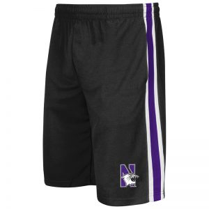 Northwestern University Wildcats Men's Colosseum Black The Stop Short with N-Cat Design