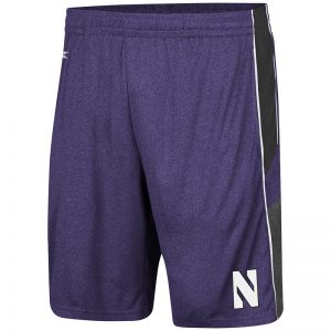 Northwestern University Wildcats Men's Colosseum Heather Purple/Heather Black/Heather Charcoal Triple - A- Short with Stylized N Design