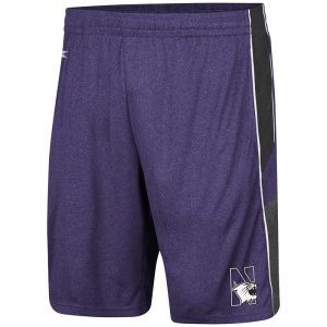 Northwestern University Wildcats Men's Colosseum Heather Purple/Heather Black/Heather Charcoal Triple - A- Short with N-Cat Design