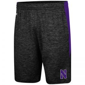 Northwestern University Wildcats Colosseum Black /Purple Fundamentals Short with Stylized N Design
