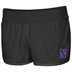 Northwestern University Wildcats Colosseum Ladies Heather Purple / Black Mesh Racine Belles Reversible Short with Stylized N Design-Reversed Side Front