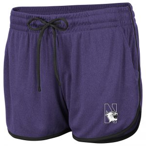 Northwestern University Wildcats Colosseum Ladies Purple/Black Womens Toulon Short with N-Cat Design