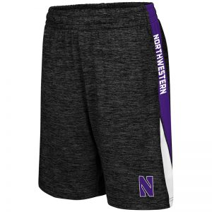 Northwestern University Wildcats Colosseum Black / Purple / White Youth The Jet Short with Stylized N Design