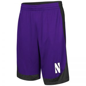 Northwestern University Wildcats Colosseum Purple / Black / Charcoal Youth Hall Of Fame Short with Stylized N Design