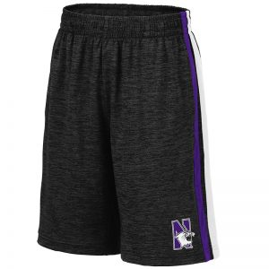 Northwestern University Wildcats Colosseum Black/Purple/Black Youth Mendoza Short with N-Cat Design