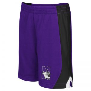 Northwestern University Wildcats Toddler Colosseum Purple/Black/White Flagged Short with N-Cat Design