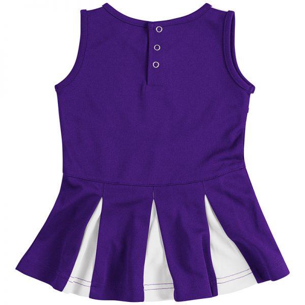 Northwestern University Wildcats Colosseum Purple/White Infant Girls Pom Pom Cheer Set with Stylized N Design-Back