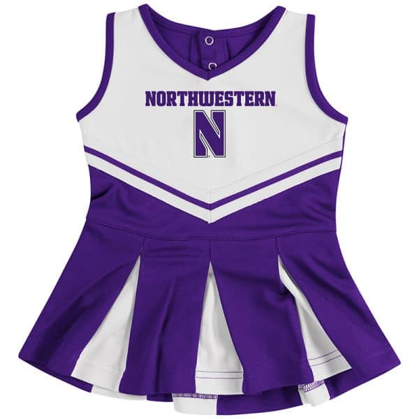 Northwestern University Wildcats Colosseum Purple/White Infant Girls Pom Pom Cheer Set with Stylized N Design
