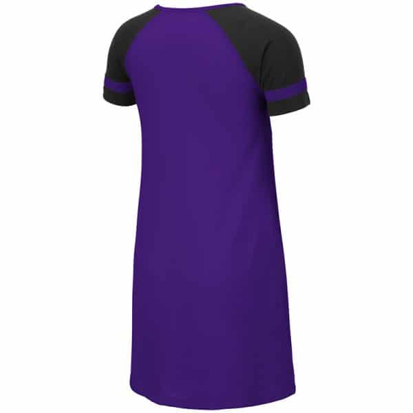 Northwestern University Wildcats Colosseum Purple/Black Girls Vienna Dress with N-Cat Design-Back