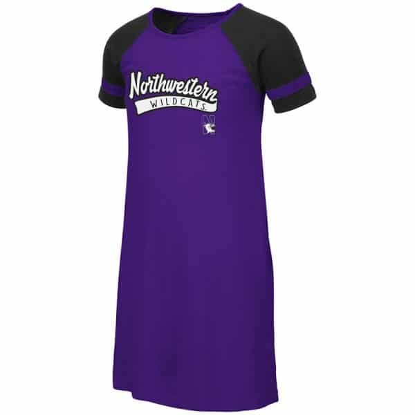 Northwestern University Wildcats Colosseum Purple/Black Youth Girls Vienna Dress with N-Cat Design