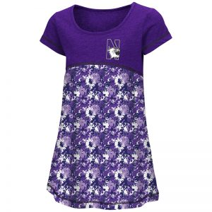 Northwestern University Wildcats Colosseum Purple Flower Pattern Toddler Fountain Dress with N-Cat Design