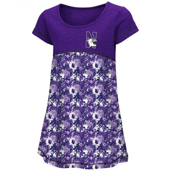 Northwestern University Wildcats Colosseum Purple Flower Pattern Toddler Fountain Dress with N-Cat Design