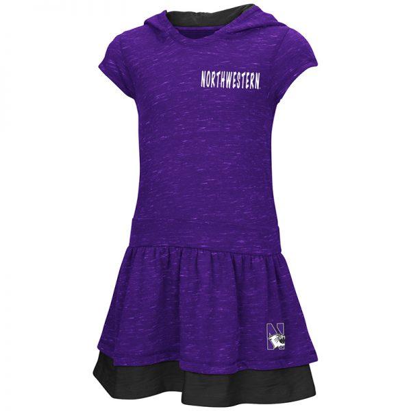 Northwestern University Wildcats Colosseum Purple/Black Toddler Emma Hooded Dress with N-Cat Design