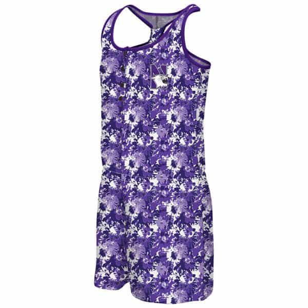 Northwestern University Wildcats Colosseum Purple Flower Pattern Youth Girls Monica Henley Romper with N-Cat Design