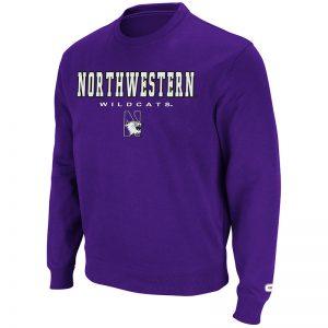 Northwestern University Wildcats Colosseum Purple Men's Automatic Crewneck Sweatshirt with Northwestern N-Cat Design