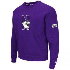 Northwestern University Wildcats Colosseum Purple Men's Zone II Crewneck Sweatshirt with N-Cat Design