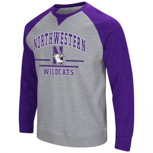 Northwestern University Wildcats Colosseum Heather Grey/Purple Men's Turf Crewneck with N-Cat Design