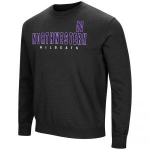 Northwestern University Wildcats Colosseum Black Men's Playbook Crewneck Sweatshirt with Northwestern Stylized N Design