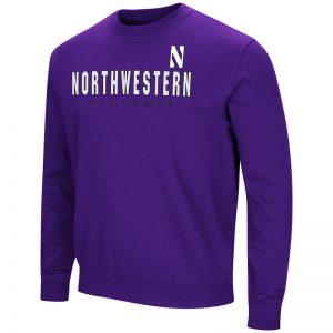 Northwestern University Wildcats Colosseum Purple Men's Playbook Crewneck Sweatshirt with Northwestern Stylized N Design
