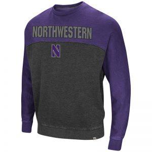 Northwestern University Wildcats Colosseum Charcoal/Purple Men's Nice Hit Crewneck Sweatshirt with Northwestern Stylized N Design