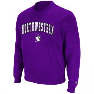 Northwestern University Wildcats Colosseum Purple Men's Automatic Crewneck Sweatshirt with Arch Northwestern & N-Cat Design