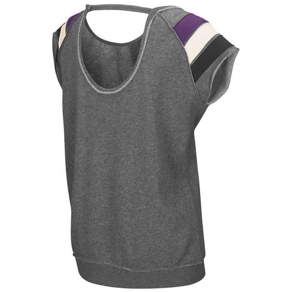 Northwestern University Wildcats Colosseum Heather Grey Ladies Works Everytime Pullover with Northwestern Design-Back