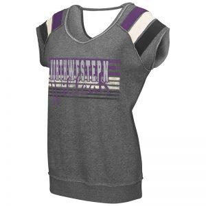 Northwestern University Wildcats Colosseum Heather Grey Ladies Works Everytime Pullover with Northwestern Design