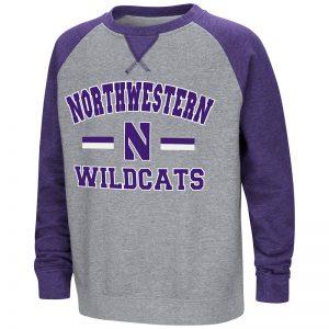 Northwestern University Wildcats Colosseum Heather Grey/Purple Youth Rudy Zoleteck Crewneck with Stylized N Design