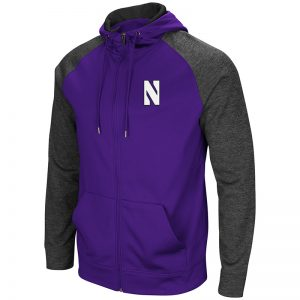 Northwestern University Wildcats Colosseum Purple/Heather Charcoal/Black Men's Magic Rays Full Zip Hooded Sweatshirt with Stylized N Design