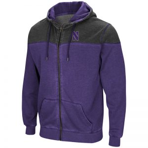 Northwestern University Wildcats Colosseum Purple/Charcoal Men's Boucher Full Zip Hooded Sweatshirt with Stylized N Design
