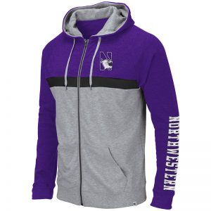Northwestern University Wildcats Colosseum Heather Grey/Purple/Black Men's Brisilla Full Zip Hooded Sweatshirt with N-Cat Design