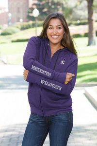 Northwestern University Wildcats Colosseum Purple Heather Ladies Contract Full Zip Hooded Sweatshirt with N-Cat Design