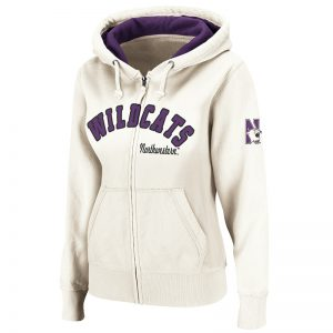 Northwestern University Wildcats Colosseum Natural Color Express Full Zip Hooded Sweatshirt with N-Cat Design