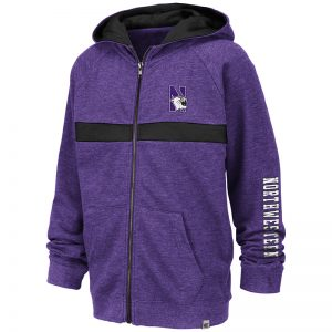 Northwestern University Wildcats Colosseum Purple/Black Youth Winnipeg Full Zip Hooded Sweatshirt with N-Cat Design