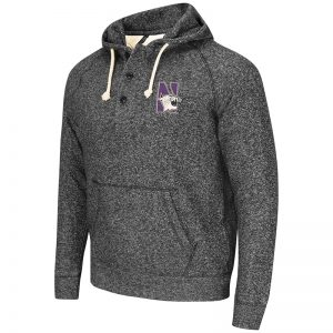 Northwestern University Wildcats Colosseum Heather Charcoal Roadster Pullover Hooded Sweatshirt with N-Cat Design