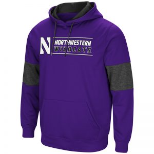 Northwestern University Wildcats Colosseum Purple/Heather Charcoal/Black Men's Red Thirty! Pullover Hooded Sweatshirt with Stylized N Design
