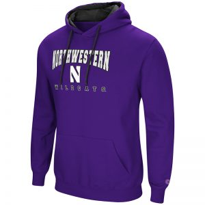 Northwestern University Wildcats Colosseum Purple Men's Playbook Pullover Hooded Sweatshirt with Stylized N Design