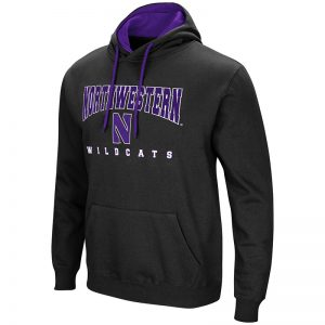 Northwestern University Wildcats Colosseum Black Men's Playbook Pullover Hooded Sweatshirt with Stylized N Design