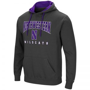 Northwestern University Wildcats Colosseum Charcoal Men's Playbook Pullover Hooded Sweatshirt with Stylized N Design