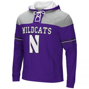 Northwestern University Wildcats Colosseum Purple/Heather Grey Men's Ice Hockey Pullover Hooded Sweatshirt with Stylized N Design