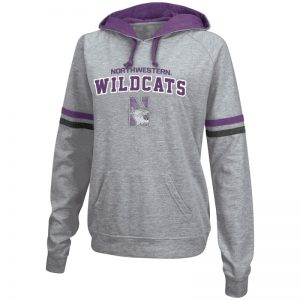 Northwestern University Wildcats Colosseum Grey/Purple Stripped Ladies Chalk P/O French Terry Hood with Northwestern N-cat Design