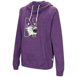 Northwestern University Wildcats Colosseum Purple Heather Womens I'l Go with You Hoodie with N-cat Design