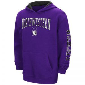 Northwestern University Wildcats Colosseum Purple/ Black Youth Zone Pullover Hoodie with N-Cat Design