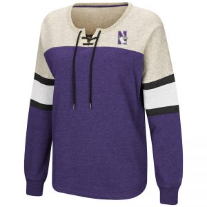 Northwestern University Wildcats Colosseum Ladies Purple/Heather Grey Become Great Oversized Lace Up P/O with N-Cat Design