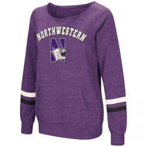 Northwestern University Wildcats Colosseum Ladies Purple Waters Warm Pullover with N-Cat Design