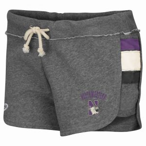 Northwestern University Wildcats Colosseum Ladies Heather Grey Wanna Quit The Gym Fleece Shorts with N-Cat Design