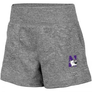 Northwestern University Wildcats Colosseum Ladies Heather Grey Lyon Short with N-Cat Design