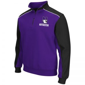 Northwestern University Wildcats Colosseum Men's Purple/Black Split Thriller II Qtr Zip with N-Cat Design